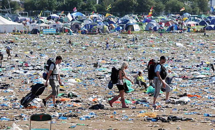 Portable, self-driven compactors for waste disposal at festivals